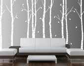 Birch Tree Wall Decal Nursery Forest Vinyl Sticker Removable Animals Branches Art Stencil Leaves (9 trees) #1263