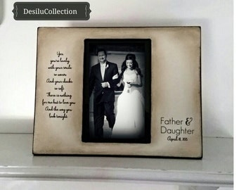 Father Daughter Rustic Dance Sign Hand Stained Painted Gift Personalized Father of the Bride Wedding Picture Frame 4x6 5x7 Keepsake