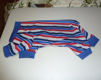Summer Cotton Knit PJs, Lightweight Doggy Pajamas, Patriotic Doggy Pajama, Doggy Onesie, Lightweight Pajama, Small Pajama