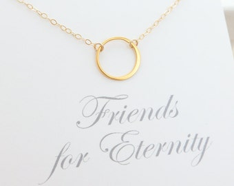 Best Friend Necklace - friendship necklace - bridesmaid gift - bridesmaid jewelry - eternity ring necklace - simple circle ring necklace