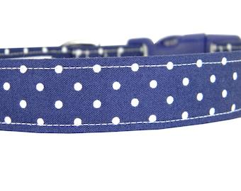 Navy Polka Dot Dog Collar/ Classic Navy Dog Collar: Navy Dot