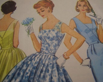 Vintage 1950's McCall's 4116 Dress Sewing Pattern Size 12, Bust 32