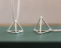 Pyramid Pendant//Sterling Silver//3D Triangle//Handcrafted//Geometric Jewelry