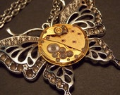 Silver and Gold Butterfly Watch Movement Necklace