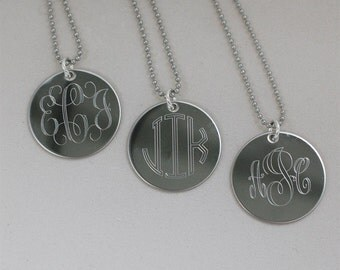 """24"""" long engraved monogram necklace"""
