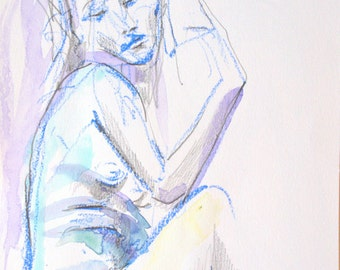 Seated Figure in Violet -- Archival Print