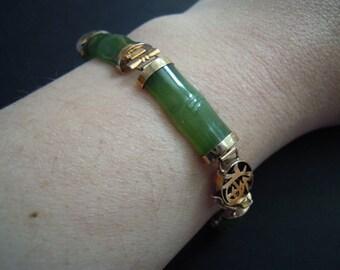 Green Jade and 14K Gold Bamboo Bracelet Vintage
