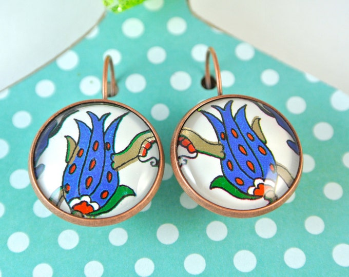 Turkish Art Earrings: Handmade Christmas Day Gift - Turkey Istanbul Grand Bazaar Iznik - Jewelry Flowers Artwork - Blue Gold Tulip