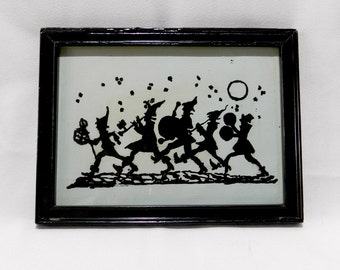 Black Silhouette Band vintage Frame Reverse glass painting art deco