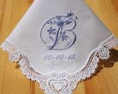 Crochet Lace Handkerchief with Elegant Floral Initials Design Monogram Alphabet (#160525)