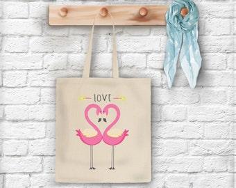 LOVE Flamingos Tote Bag