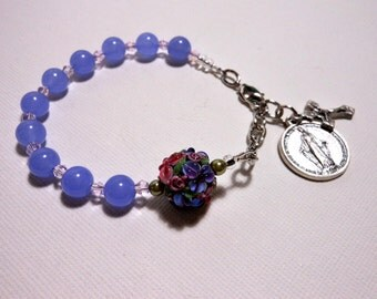 Lilacs and Roses Rosary Bracelet