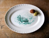 Antique Ironstone, Thanksgiving Platter, Transferware Platter, Vintage Ironstone, Green Transferware, Pilgrims, Mayflower, Plymouth Rock