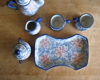 Miniature Tea Set, Dollhouse Tea Party, Vintage Toy, Doll's Tea Set, Madhatter's Tea Party, Antique Teacup and Saucer, Tea Pot Serving Tray