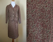 SALE / 1960's Paisley Suit - Blazer & Pencil Skirt Set - 60's -