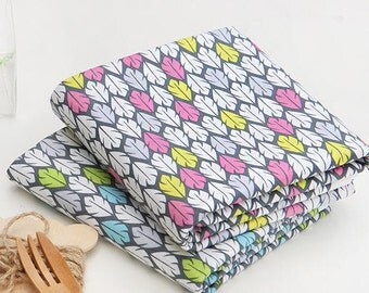 Colorful Leaves Cotton Fabric - Pink or Blue - By the Yard 75357