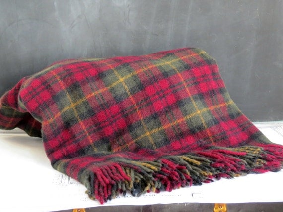 Vintage L L Bean Maroon Wool Throw Blanket