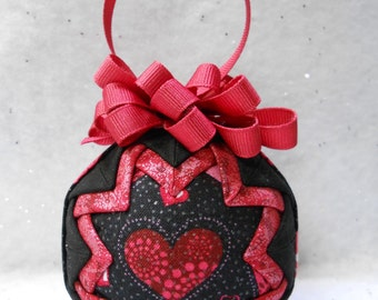 Valentine Heart on Black Quilted Ornament - No-sew ornament - Home decor, Valentine's Day