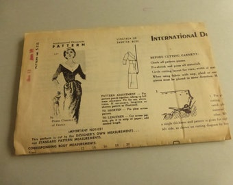 Vintage Mail Order International Designers Pattern S211 Dress by Pierre Clarence of France
