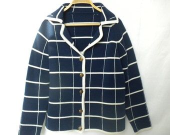 Vintage 60s Mod Plaid Grid Cardigan Navy Blue White Windowpane Check Collared Sweater M/L