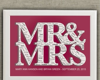 Wedding Guest Book Alternative. MR & MRS poster for guests signatures. Customized with names and date. Printable.