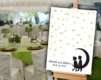 Romantic Wedding Guest Book Alternative. A cute couple sitting on the moon. Customized with names and date. Printable.