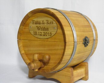 Рersonalized Wedding Card Box, money box, Casket Barrel on  stand, Barrel 5 liters, Rustic Wedding Decor