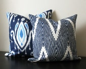 Decorative Throw Pillow Set, Blue and White Ikat Chevron Pillows, Set of Two 16x16,18x18, Accent Pillow, Pillow Shams, Toss Pillows