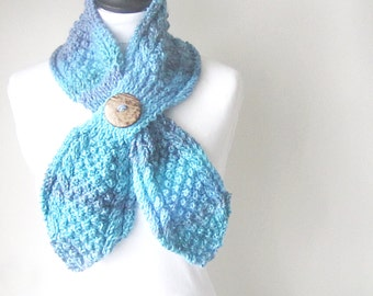 Blue knitted butterfly scarf, Blue and lilac keyhole scarf, Winter scarf, ladies scarf, Christmas gift Winter accessories, uk seller