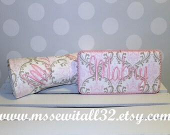 Pink and Taupe Damask Quilted Changing Pad and Diaper Wipes Case Set