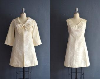 Vintage short wedding dress etsy everly 60s short wedding dress brocade dress sciox Choice Image