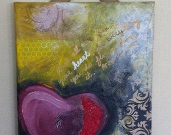 Mixed Media art on canvas - Heart Love Proverbs