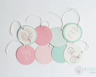 Set of 8 Gift Tags. Blossom and Bike Gift Tags.