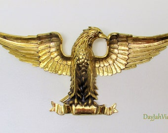 4 Feet Wide Wall Sculpture - Golden Eagle Sculpture - Gold Metal 3-D Wall Hanging  - Freedom Symbol - Ready to Hang Home Decor