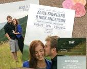 BridalShower Wedding Invitation, Photo Backgrounds / 'The Alice' 2-sided Invite Wedding-Shower DESIGN / DIY Print or We Print for You #Alice