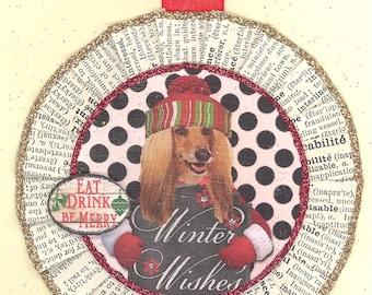 Afghan | Afghan Hound | Dog | Christmas Ornament | Vintage Style