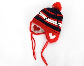 Vintage Heart Knit Helmet Style Hat Valentine Hat in Red white and Blue