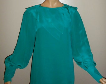 Silk Green Vintage Blouse, Long Sleeves, Button Shoulder