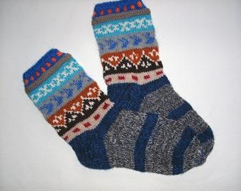 Hand Knitted Wool Socks For Men-Colorful Wool Socks-Size Large US 10/,EU43-/US13/ EU47