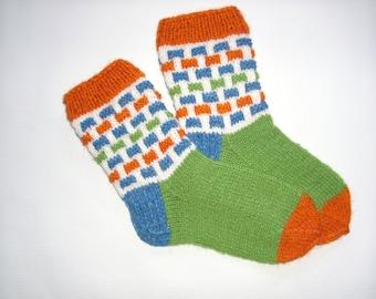 Hand Knit Wool Socks -Colorful Socks for Women -Wool Socks Size S,M,L-Handmade Wool Socks- House Wool Socks