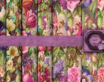 Digital Floral Backgrounds Digital Floral Paper Pack Digital Floral Scrapbooking Paper Dresser Draw Liners No 1186
