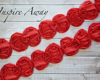 "Red Mini Bow Trim - 1 YARD-Wholesale Discounts - Mini 2.5"" chiffon bow trim -Supplies, DIY headband supply, DIY hair bow"