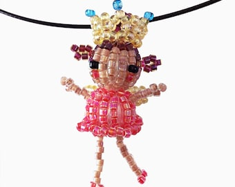 Dark Rose Fairy Princess Necklace, seed bead doll, beaded doll, bead mascot, bead motif, seed bead jewelry, 3D