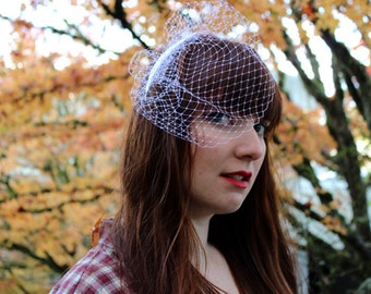 Bridal Bird Cage Veil with Gorgeous Silver Feather