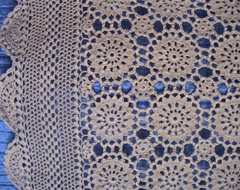 Hand Crochet Cotton Lace Table Topper  32 inches square