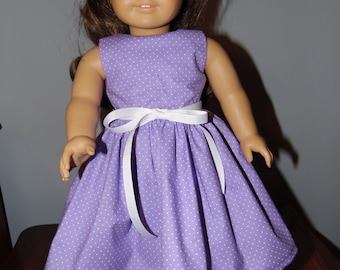 "AG Doll Dress - Purple with White Polka Dots Print Handmade Sleeveless Dress fitting American Girl & Similar 18"" Dolls - Doll Clothes"