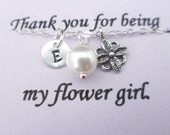 Custom Initial, Flower and Pearl Necklace - Flower Girl Gift and Junior Bridesmaid Gift
