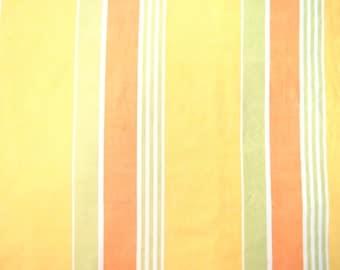 Half Yard of Vintage Sheet Fabric -  Yellow Green Rust Stripes - 1/2 yd