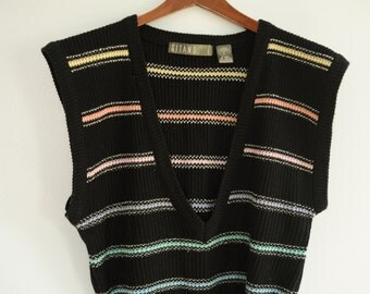Vintage Gitano Black and Pastel Stripe Sweater Vest Size L