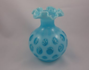 Fenton Glass Vase, Double Crimped Coin Dot Pattern, Opalescent